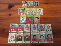 Lot of 22 Trading Cards - 1970 to 1974 Topps FOOTBALL New England Patriots (AFC)