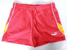 Puma Women's Athletic Shorts Small Red Orange Solid Drawstring Stretch