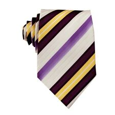 Purple White Striped 100% Silk Jacquard Classic Woven Man's Tie Necktie FS36
