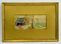 ANTIQUE WATERCOLOR PAINTING COUNTRY BARN & HOUSE OLD GLASS & FRAME EARLY 20TH C