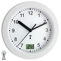 NEU TFA Wanduhr Funkuhr Funk Badezimmer Uhr Quarz weiß rund Thermometer Ø 17 cm