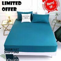Luxury Satin Silk Deep Pocket Fitted Bed Sheet Mattress Cover Pillowcase Bedding