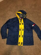 VTG Tommy Hilfiger Sailing Windbreaker Jacket Blue Yellow Flag Spell Out Small