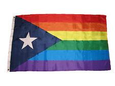 3x5 Puerto Rico Rainbow Gay Pride Flag 3'x5' Banner Brass Grommets premium
