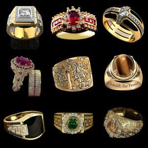 Fashion Men 18K Yellow Gold Plated Punk Classic Jewelry Wedding Rings Size 6-13