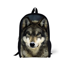 Animal Wolf Backpack Rucksack Girls Satchel Shoulder Bag Travel Schoolbag Teens