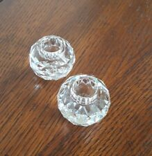 Pair Of Swarovski Crystal Faceted Global/Ball Candle Holders