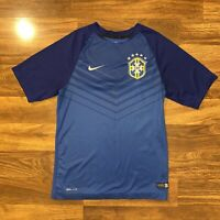 NIKE DRI-FIT CBF BRAZIL Soccer Training Top Jersey Blue Men's Size Small