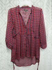 Weavers Top Size S Red Plaid Button Front Sheer Pin Tuck Long Sleeve Ties Casual