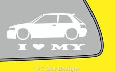 2x LOVE LOW Mazda 323 familia GTR GTX hatchback outline sticker decal LR115