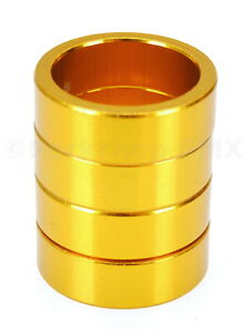 """Bicycle MINI BMX ROAD MTB headset spacers 1"""" threadless (SET of 4) 10mm - GOLD"""
