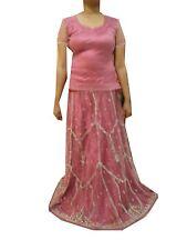 Om Vintage Indian Wedding Net Hand Beaded Zardozi Pink Lehenga,Blouse LP45