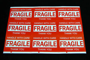 90PCS 76x50mm Fragile Handle With Care Thank You Adhesive Label Sticker Sheet