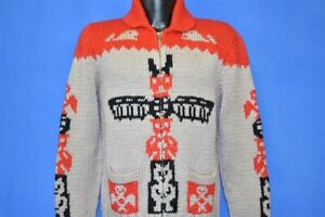 vintage 60s COWICHAN TOTEM POLE BIRDS WHALES POCKETS CARDIGAN SWEATER SMALL S