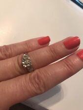 Vintage Diamond Engagement Ring 14k White Gold  .08