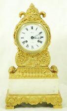 Bidermeier Fireplace Clock Watch 1827 Carrara Marble & Gilded Bronze