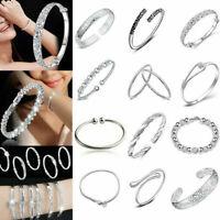 Women 925 Silver Flower Cuff Bangle Wristband Bracelet Wedding Jewelry Gift