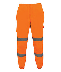 Hi Vis Hi Visibility Rail Spec Combat Joggers - Hi Viz Orange - HVTJR01