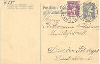 """SCHWEIZ """"BIEL (BIENNE) IV BÖZINGEN"""" grosser K1 (mit Einsätze) 1920 7 1/2 (C.) GA"""