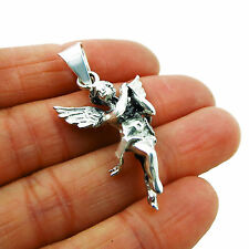Solid 925 Sterling Silver Cupid Angel Pendant