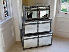 Set of 3 blackened Embossed Mirrored Storage Blanket Box Chest,Trunks 3242