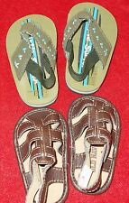 Set Sandals OLD NAVY Little Surfer Brown Green Baby Sandals 0-3 Month Shoes sz 1