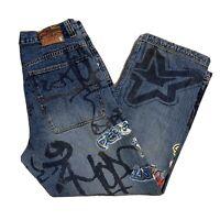 Pepe London Men's Size 36x33 Graffiti Painted Jeans, Kikwear Vintage 90s Street