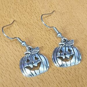 Hypoallergenic Surgical Steel Earrings with Tibetan Silver Pumpkin Charms
