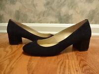 New Michael Kors Arabella Black Suede Leather Kitten Heel Pump Shoes Sz 8.5M