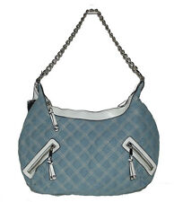 New Blue Denim silver Chain Quilted Fashion bag Handbag tote purse Satchel Hobo