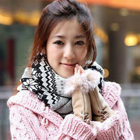 Gloves Warmer Fashion Chic Women's Rabbit Fur winter leather Warm Fingerless