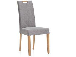 Polsterstuhl Esstischstuhl Stuhl Sessel SPYRO Beine Eiche Webstoff Hellgrau Grau