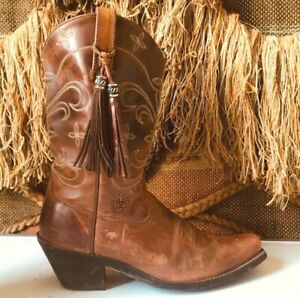 Ariat 13625 Brown Leather Rubber Soled Women's Cowboy Tassle Boots US 8 B