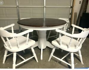 Refurbished Vintage Dining Table Set Solid Wood White and Brown Excellent