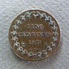 LOUIS XVIII - 5 Centimes - 1821 A  ESSAI - RARE & RECHERCHÉE QUALITÉ TTB !