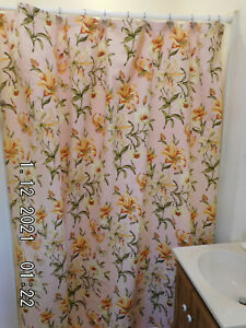 WAVERLY TIGER LILY FABRIC Shower Curtain 100% Cotton  New! Thicker!