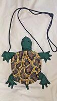 Turtle Shaped Purse Coin Purse Green Brown Bead Eyes 2 Pockets Fabric Zipper
