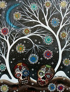 NEEDLEPOINT Canvas 14 or 18 count_Black Birds_Mexican Art, Skulls, White Tree