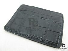 PELGIO Genuine Crocodile Alligator Skin Leather Slim Credit Card Holders Black