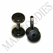 1457 Screw-on / fit Black 14G Gauge 1.6mm Flesh Tunnels Ear Plugs Earlets Steel