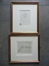 Pr of Nude Portrait Studies, Male and Female. Graphite circa 1900