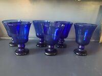 Set of 6 Cobalt Blue Hand Blown 4 oz. Cordial Aperitif  Wine Glasses Votive