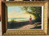 Henry Hall, 19th c oil/canvas, 12 x 18 vintage gold leaf frame