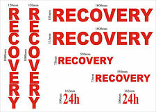 RECOVERY vinyl graphics kit 8 piece, truck lorry stickers decals DIY sign making