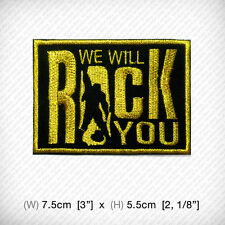 new WE WILL ROCK YOU Embroidered Iron on Patch or Sew QUEEN BAND Arena rock GOLD