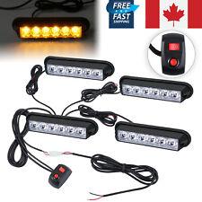 4pcs 6 LED Vehicle Flashing Warning Strobe Light Hazard Flash Amber BAR Light CA