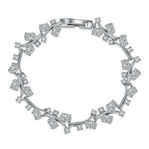 Beauty Floral Vine Natural White Fire Topaz Gems Platinum Plated Charm Bracelets