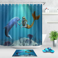 Mermaid with Dolphin Undersea Bathroom Shower Curtain Waterproof Fabric 12 Hooks