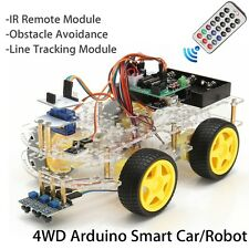 4WD Car DIY Robot Starter Kit Intelligent Remote Control Tracking For Arduino