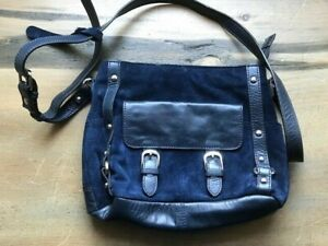 CLARKS Navy Blue Handbag. Suede. Shoulder Bag.